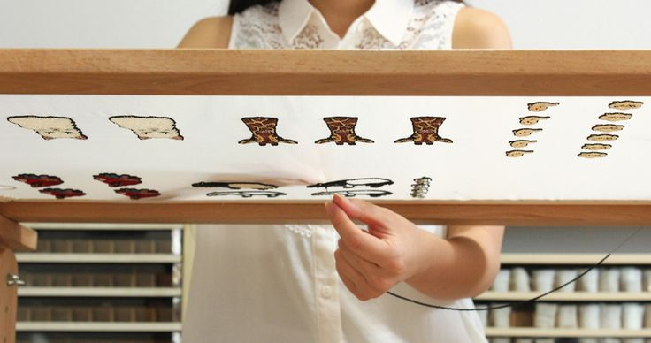 Moko Kobayashi - at work using tambour embroidery on an embroidery frame