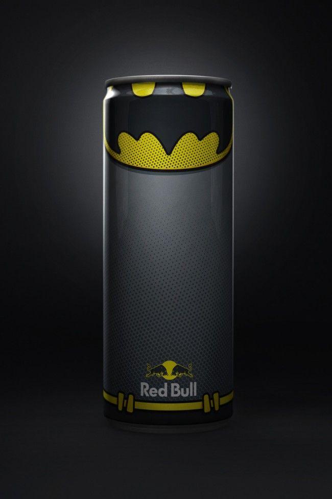 Holy Redbull Batman! Redbull DiegoFonseca  Red Bull Superheroes Packaging PD