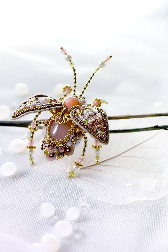 Indian inspired Beetle Brooch Ring Beetle Pendant Hand embroidered designer insect jewelry pearl green pink Rose Quartz colourful bug pin