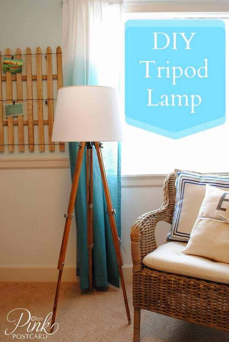 *Pink Postcard* DIY vintage tripod lamp. How to make a