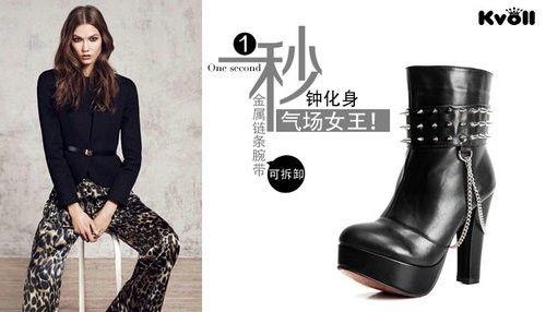fashion 2 in 1 punk plateau pumps high heel mit nieten. Black Bedroom Furniture Sets. Home Design Ideas