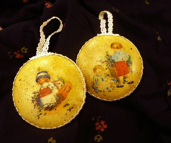 Set 2 wooden Christmas ornaments Christmas decorations