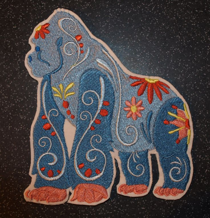 Flower Power Gorilla Iron On Sew on Patch motif by woosbagsandcrafts on Etsy