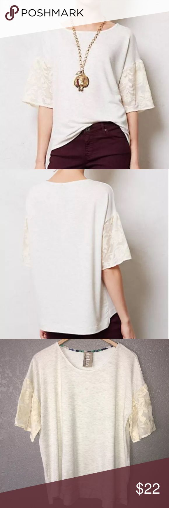 New Anthropologie Dolan Laced Lantern Sleeve Top L Super cute gray & beige heathered knit top with lace lantern sleeves, and a slight hi-low hem. Tag was torn but this item is brand new.  Bust measures 48 inches and the length from shoulder to hem is 25-27.5 inches. Dolan Tops Blouses