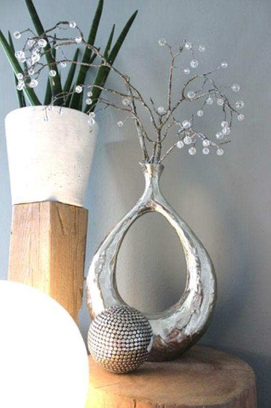 Td179 Vase Aus Massiven Metall Preis 59 90 Zweig Mit Glasperlen