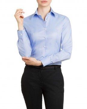Camicia donna Collo Classico Oxford in cotone celeste