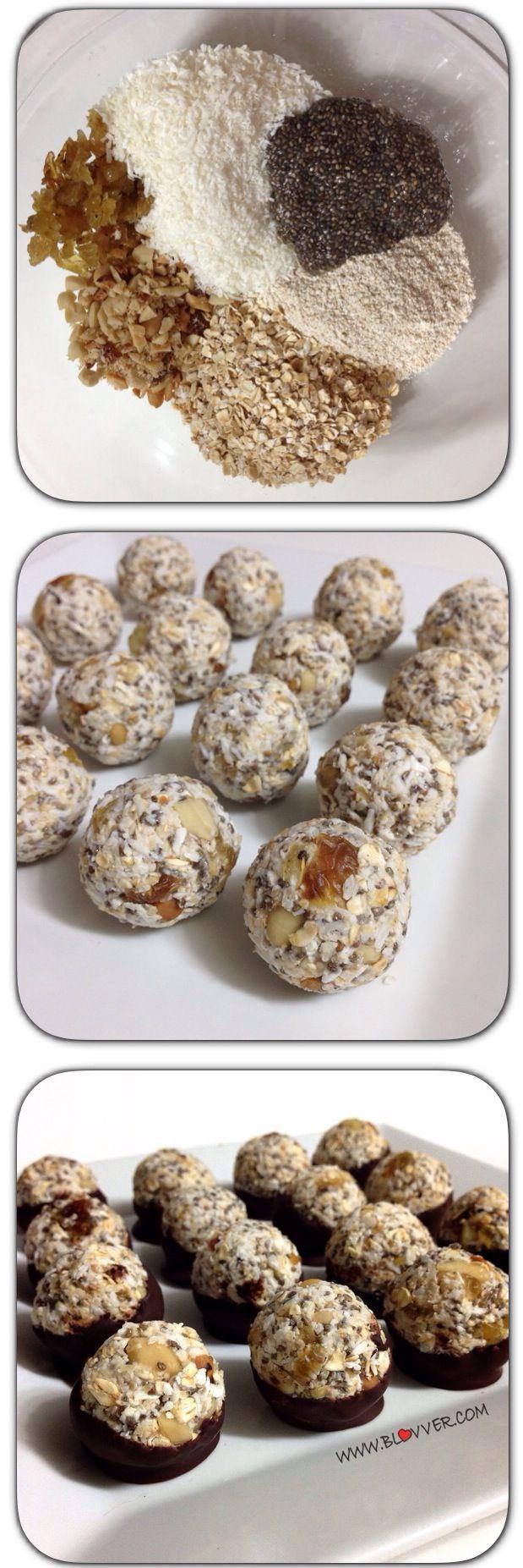 Bombones de avena, chia y coco, saludables, ricos, nutritivos y rápidos! Receta en WWW.BLOVVER.COM