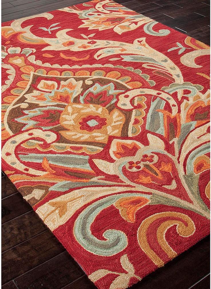 modernrugs.com red floral modern rug