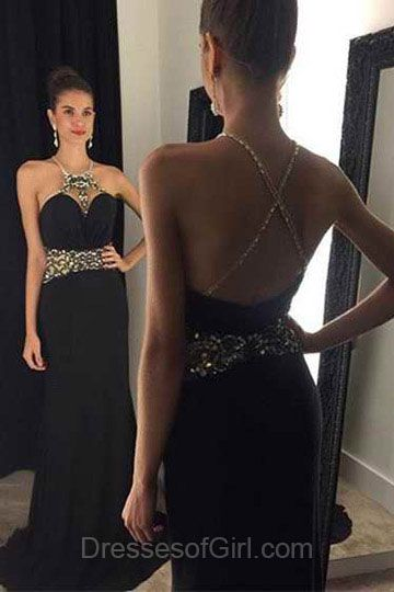 Black Prom Dresses, Backless Prom Dress, Sheath Evening Gowns, Chiffon Party Dresses, Cheap Formal Dresses