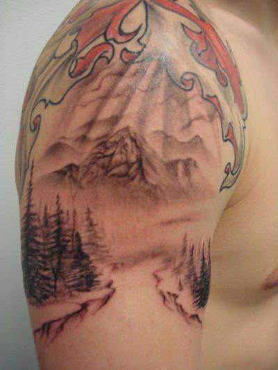 Mountain tattoo 3 4 sleeve pinterest mountain for Mountain tattoo sleeve