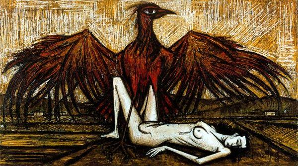Les oiseaux: L'aigle, huile sur toile, 240 x 430 cm, 1959. Musée Bernard Buffet.