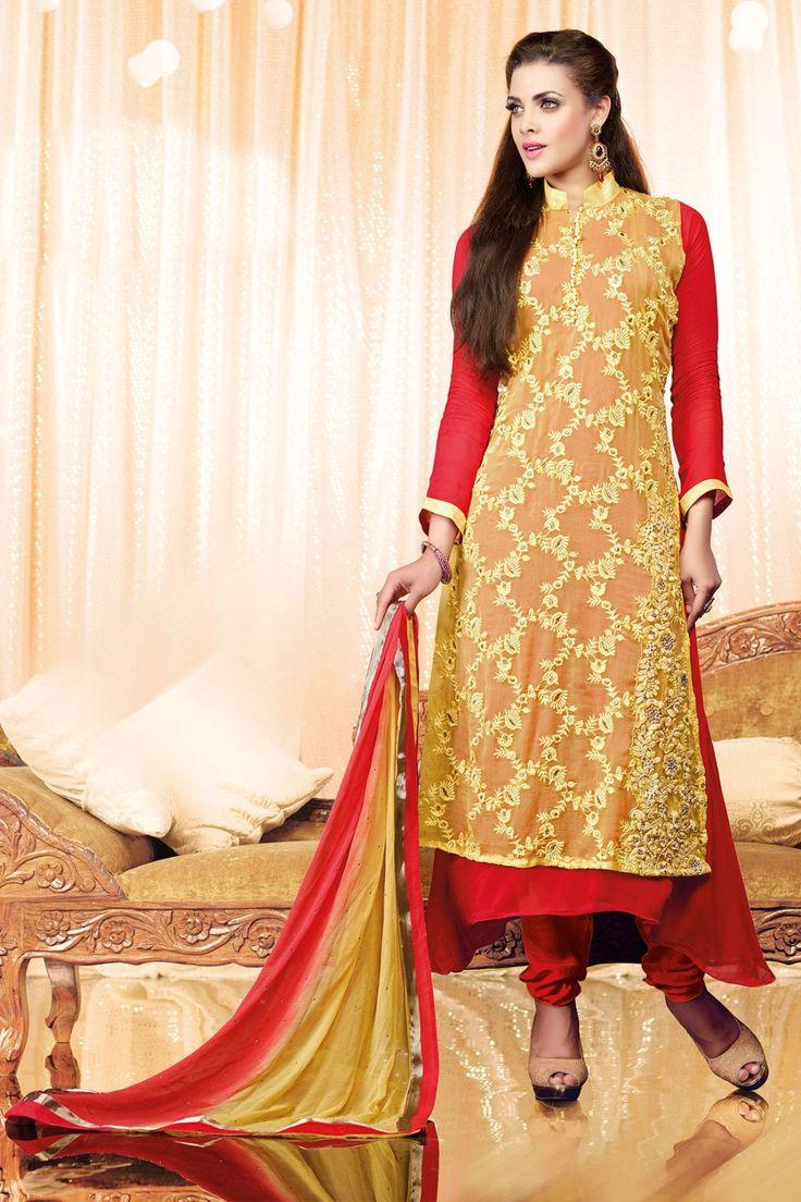 Look gorgeous with New Yellow Red Georgette, Chiffon Salwar Kameez Shop now @ http://zohraa.com/yellow-faux-georgette-salwar-kameez-z1675p6008-2.html sku : 62554 Rs. 3,199 #salwarsuits #suitsonline #salwarkameez #suits