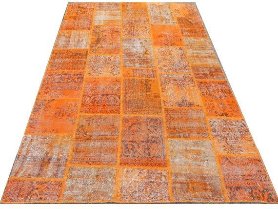 6 6x10 ft 200x300 cm orange color patchwork rug handmade from overdyed distressed