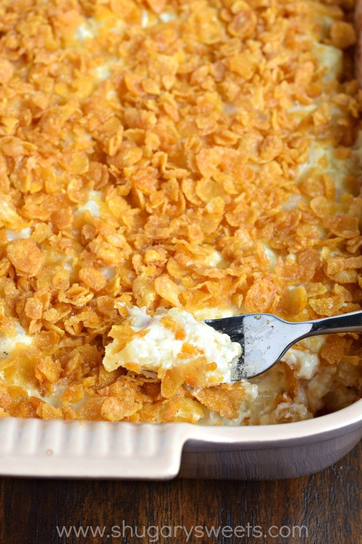 This Cheesy Hashbrown Casserole makes an appearance at all family gatherings. So easy and delicious and perfect for a crowd!