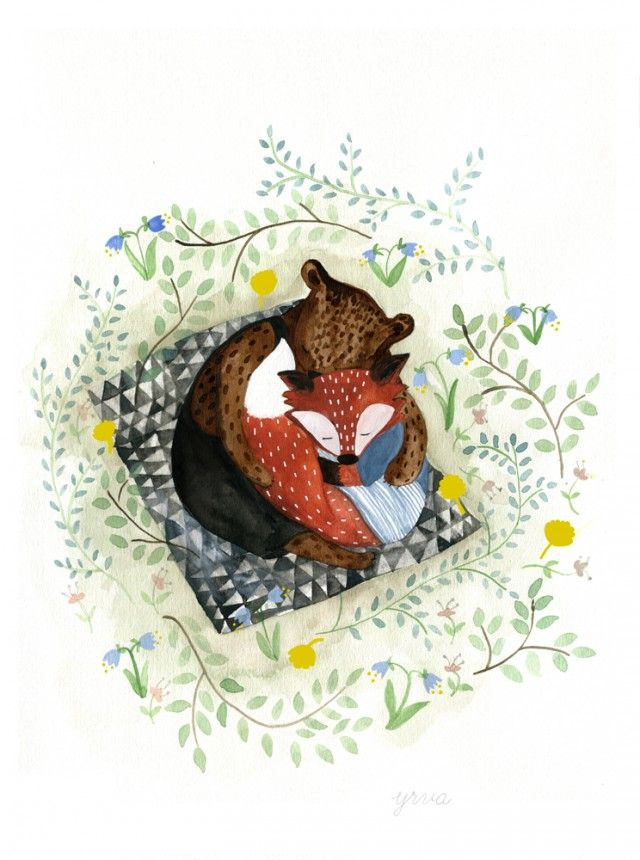 Kram, illustration, by Yrva #nordicdesigncollective #yrva #hugging #love #valentinesday #poster #animals #nature #forest #fox #bear #emotions