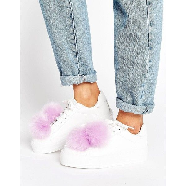 ASOS DANDELION Pom Pom Sneakers (160 RON) ❤ liked on Polyvore featuring shoes, sneakers, white, pom pom shoes, asos sneakers, faux leather shoes, vegan shoes and vegan leather shoes