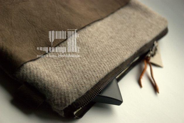 kopertówka wełniana ze skórą naturalną - zosiazlasu - Kopertówki