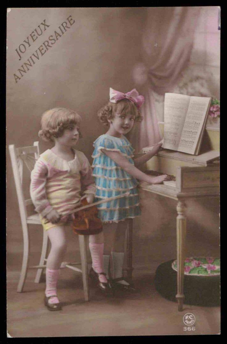 Эдвардианской эпохи 1910-х годов оригинальные старинные Фото Открытка девушка играть pianno скрипичная музыка | eBay