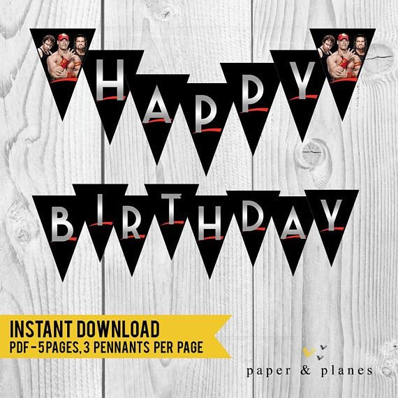 INSTANT DOWNLOAD WWE Wrestling Happy Birthday Banner *This