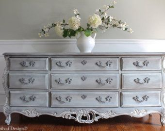 SOLD!!!! to Donna - Rare Ornate Vintage Hand Painted Louis XV Style French Provincial Dresser - Distressed Gustavian Swedish Grey Finish