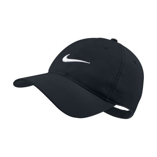 Nike Tech Swoosh Cap ($18) ❤ liked on Polyvore featuring accessories, hats, caps hats, nike, black and white baseball cap, black and white baseball hat and nike hats