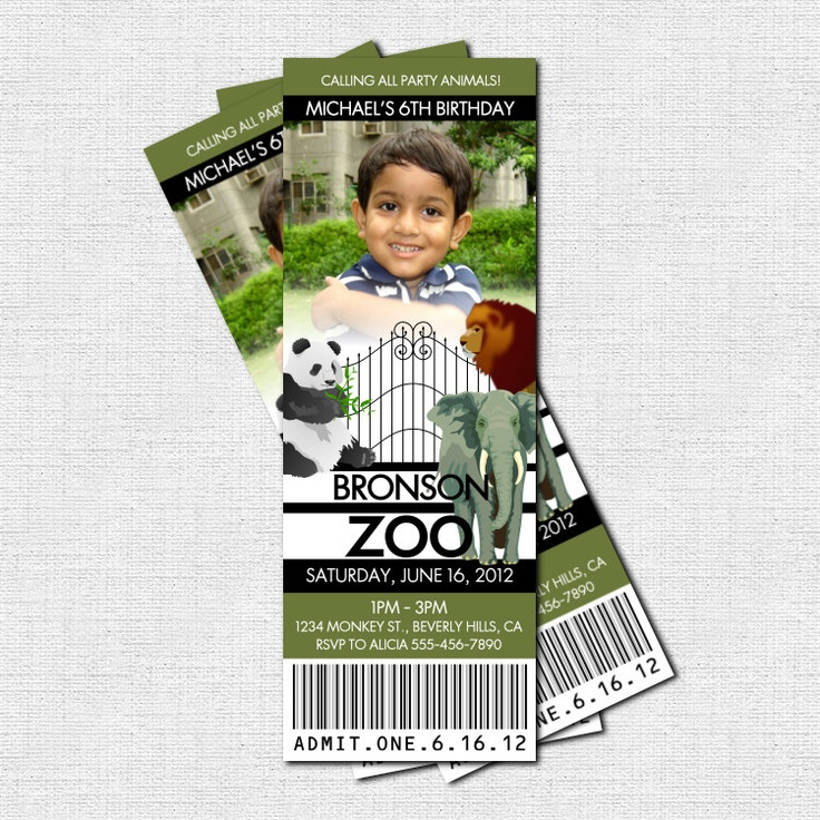 ZOO TICKET INVITATIONS Animal Birthday Party - (print your own ...