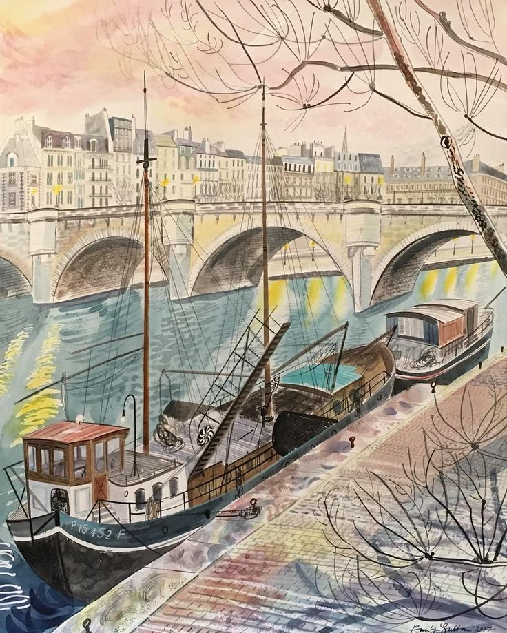 'Boats on the Seine, Early Morning' by Emily Sutton