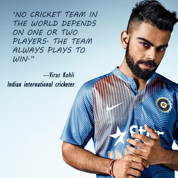 "#InspirationalQuote : ""No cricket team in the world depends on one or two players. The team always plays to win."" - #ViratKohli"