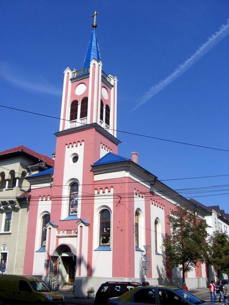 pink church -- Oradea, Romania