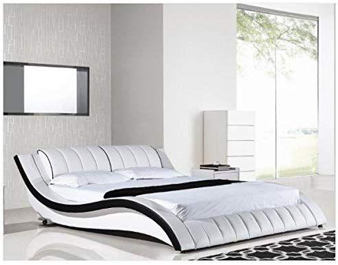 Best Amazon Com 1Perfectchoice Modern White King Platform Bed Kitchen Dining Bed Furniture 400 x 300