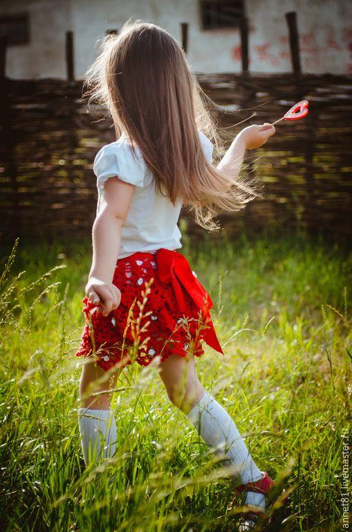 Купить Детская вязаная юбка - разноцветный, юбка красная, детская вязаная одежда, детская юбка