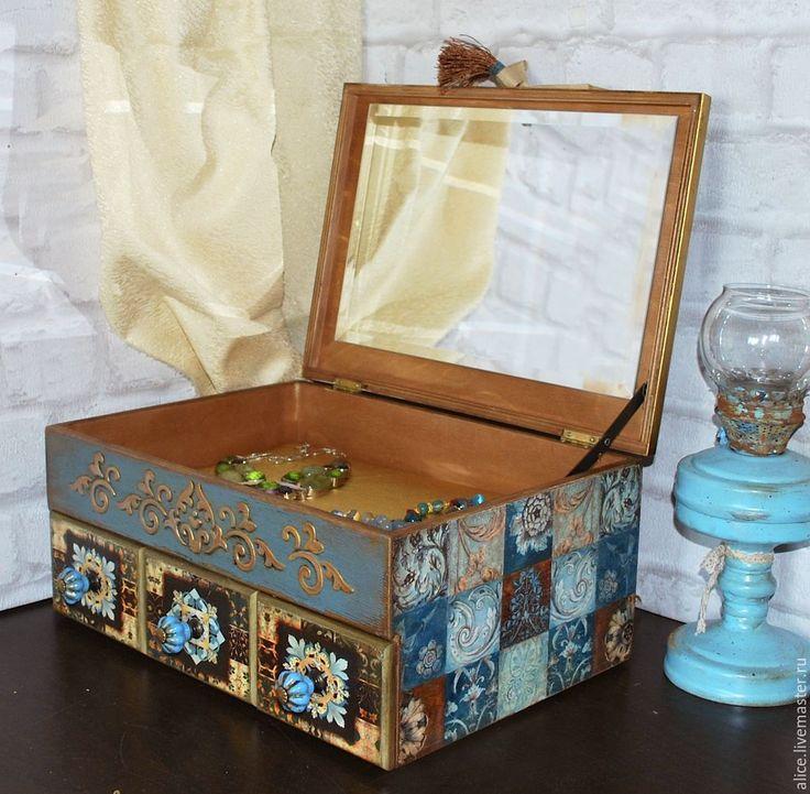 Купить Шкатулка - комод большая с зеркалом - темно-бирюзовый, бирюзовый, шкатулка, шкатулка для украшений