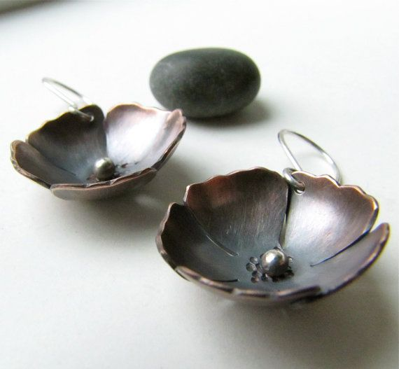 Copper and Sterling Silver Poppy Blossom earrings by silentgoddess