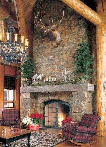 Stone fireplace, log home