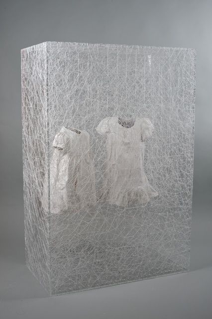 "Chiharu Shiota ~ ""State of Being (Two Children's Dress)"" (2014) Plexiglas box, two children's dresses and white thread 120 × 80 × 45 cm via Artsy, Courtesy Galerie Daniel Templon, Paris et Bruxelles. danieltemplon.com"