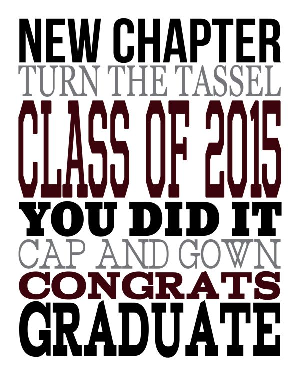 2015 Graduation Subway Art - free printable! you can also change the colors to your own school colors!!