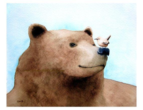 Watercolor Bear and Bird - 16x20 inch Signed Art Print  -We See Eye to Eye -brown and blue nursery art, animal painting, illustration via paintedbliss Original Paintings, Fine Art Prints, Cards
