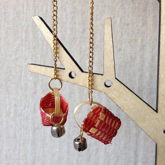 Long drop basket earrings  Harvest Basket  Soothing Rattle