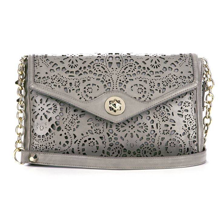 Gray Laser Cut Clutch Purse. [Me: I love it, but could only carry one-millionth of my current purse's contents!]
