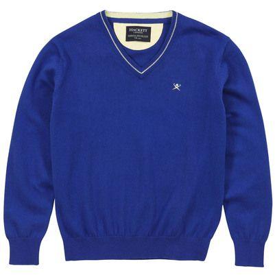 Hackett - Pull col V bleu roi en coton et cachemire mélangés - 59977    TRICOT   Pinterest 14c161dc2498