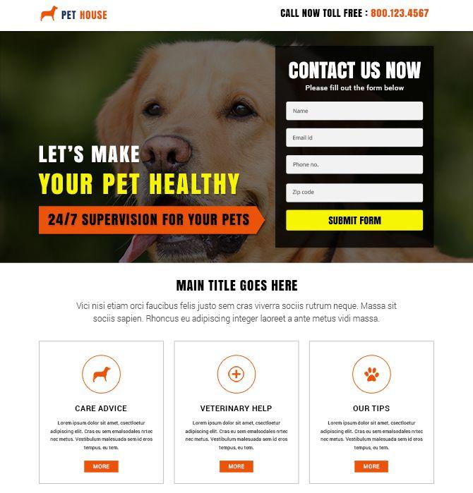 Pet House Responsive Landing Page Design Template