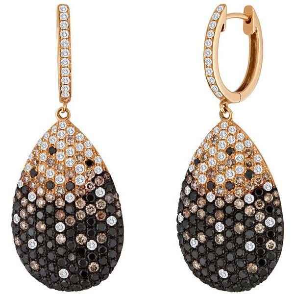 Black Champagne And White Diamond Gold Drop Earrings ($9,600) ❤ liked on Polyvore featuring jewelry, earrings, white, 18k earrings, white earrings, gold jewellery, white gold diamond earrings and 18 karat gold jewelry