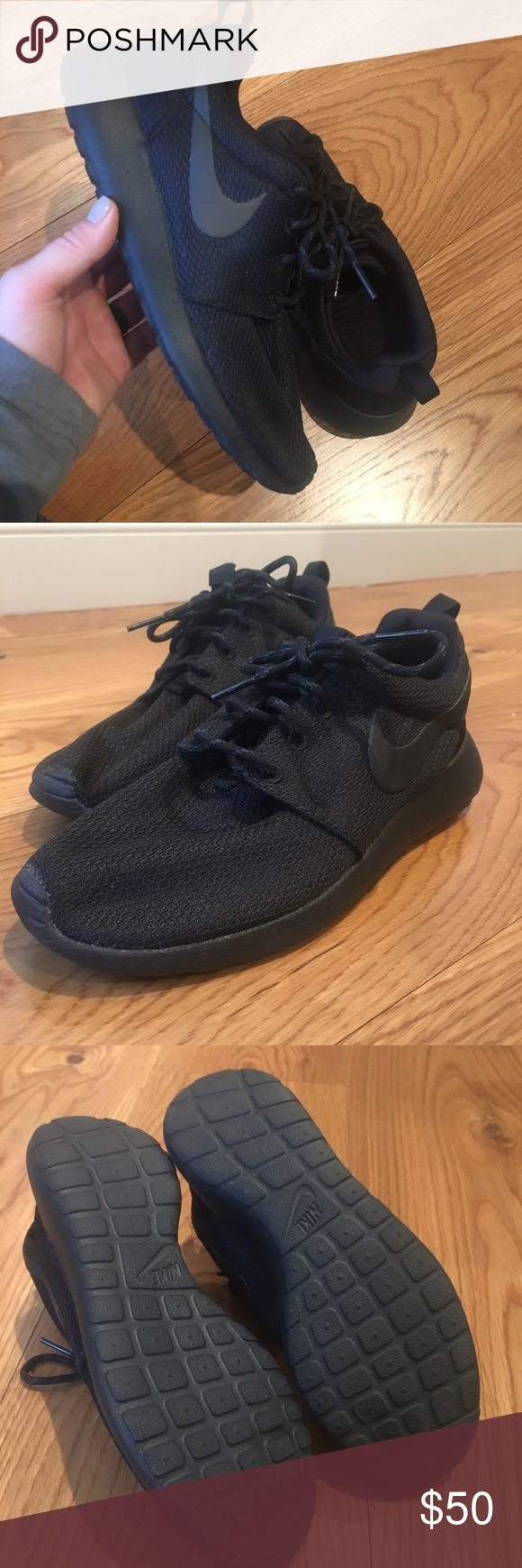 All Black Nike Roshe Run - Women Size 6.5 NWOT Like new condition. Worn once to the gym - didn't fit me how I like. No box. Non smoking house. if you want any more pictures, let me know! No trades, make some offers 😊 Nike Shoes Athletic Shoes