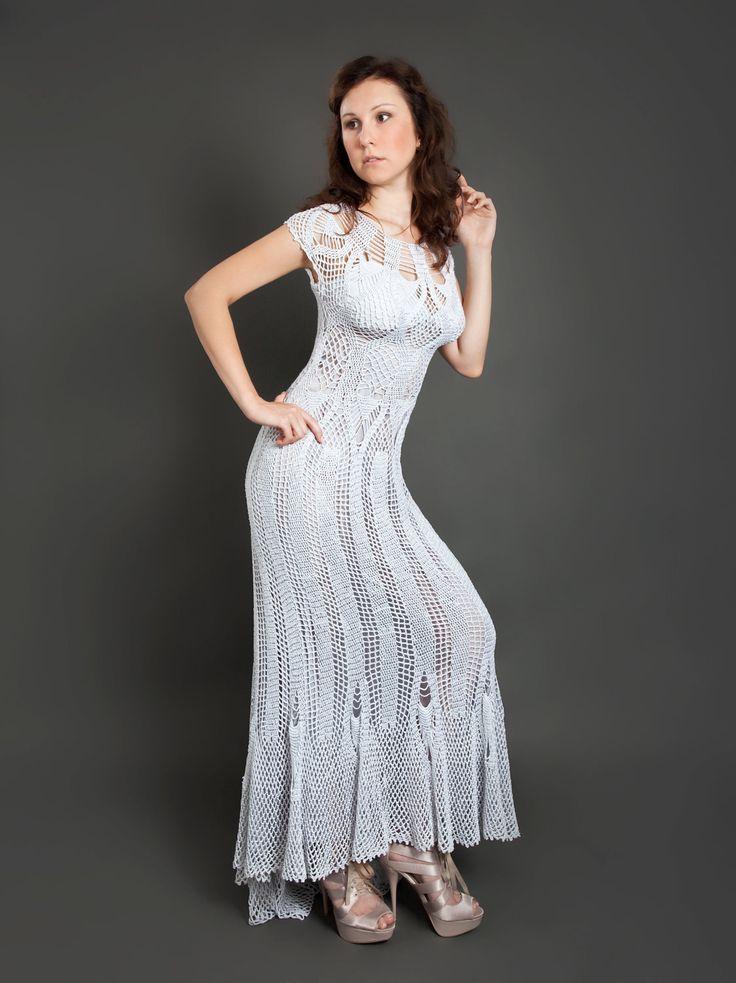 Grey metallized exclusive long crochet dress by LecrochetArt