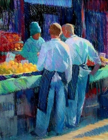 berwick street chefs by jackie SIMMONDS Pastel ~  x