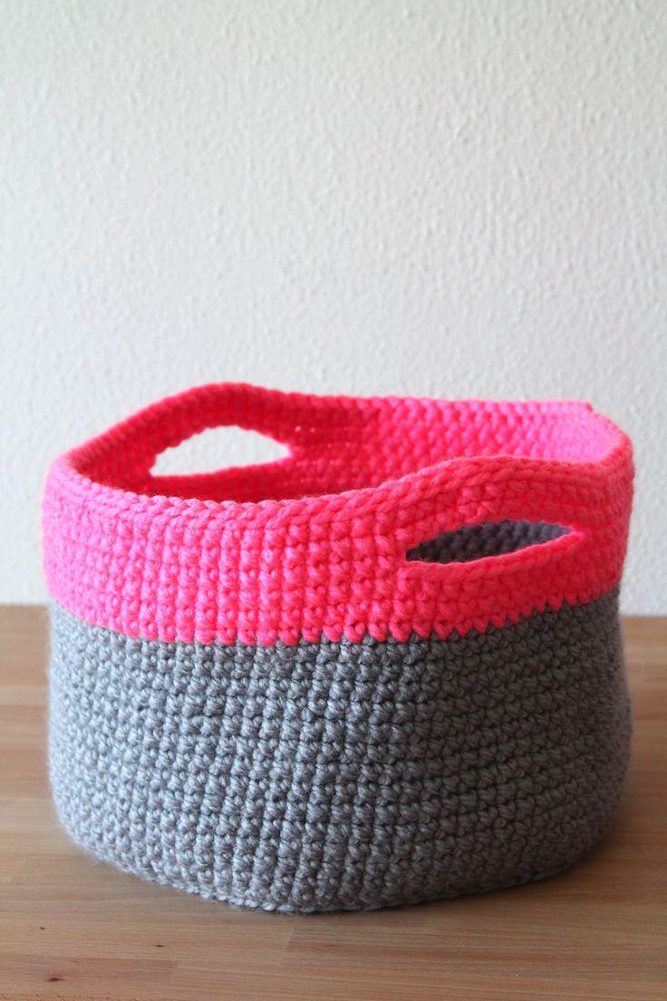 Free crochet pattern for Neon touch baskets on haakmaarraak.nl!