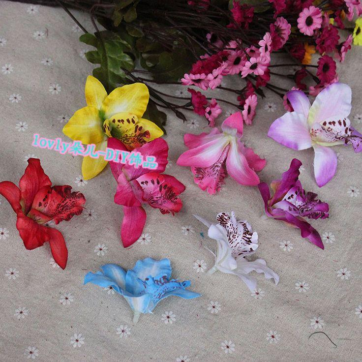DIY копия Цветок реального цветка орхидеи трубы floriculture silk искусственний высушил цветки бантики Голубые головные орнаменты/зажим волос украшают 7CM - Интернет-магазин Мой ТаоБао