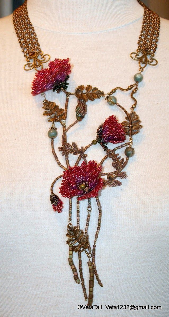Veta's Art with Beads: Poppies / Маки Note: idea of connection front main piece with beaded chain in back.