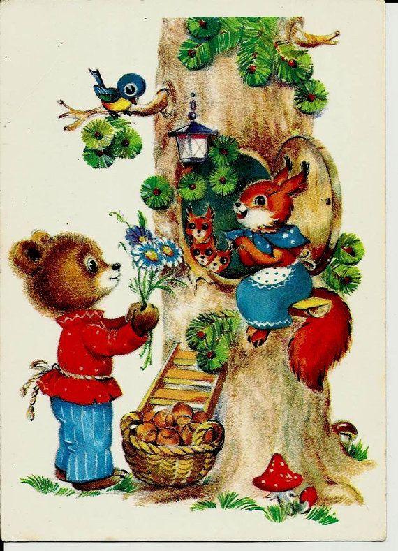 Squirrel Bear and Bird - Vintage Russian Postcard by LucyMarket, $4.99