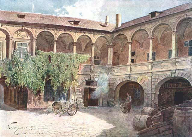 Arkádové nádvoří domu U Čapků v Petrské čtvrti Nového města. Tento rozlehlý průchozí dům, sahající od Petrského náměstí až do Klimenstké ulice, byl zbořen roku 1936. Fasáda nádvoří datována rokem 1612.